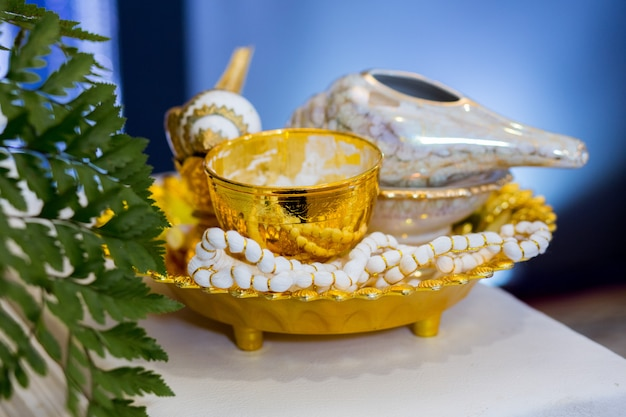 タイの結婚式の儀式用具。