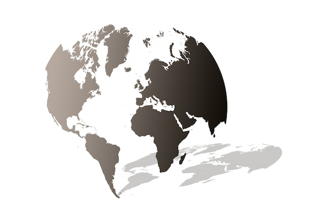 白で隔離される地球地球儀