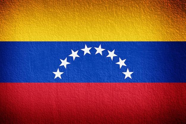 ベネズエラの国旗、古い壁のテクスチャ