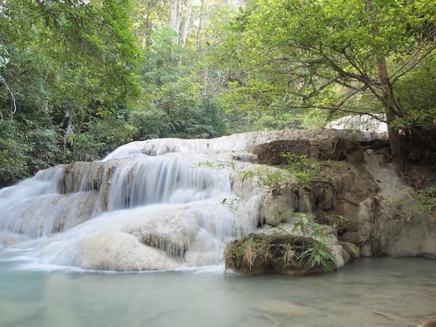 周りを流れる水と滝