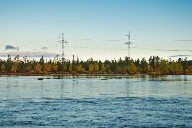 森の上の電力線