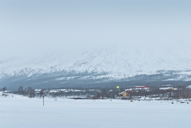ツンドラの冬の風景