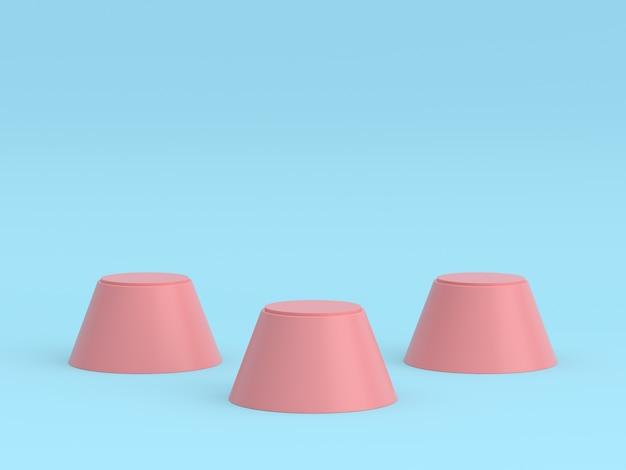 空のパステルピンクピンクの受賞者の表彰台は、パステルブルーの色の背景に