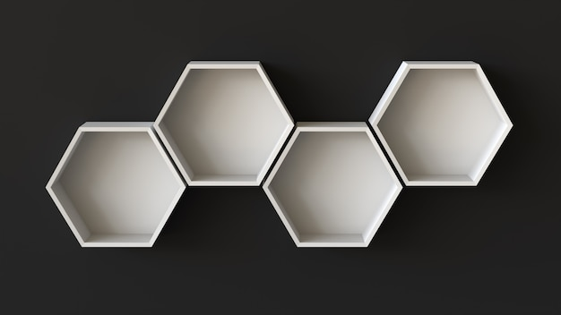 空白の壁の背景に空の白い六角形の棚