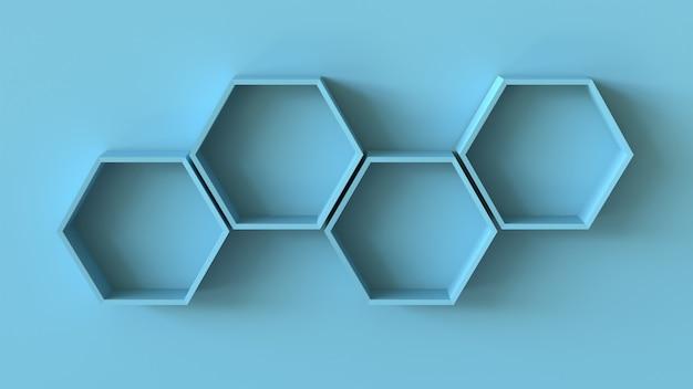 空白の壁の背景に空の青い六角形の棚