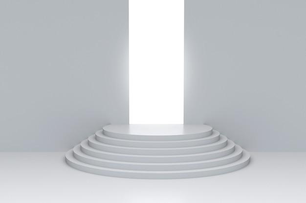 退場からの明るい光で空の表彰台