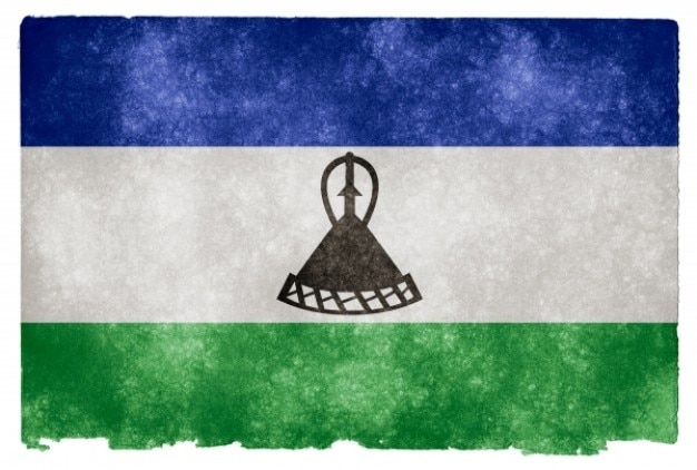 Лесото гранж флаг