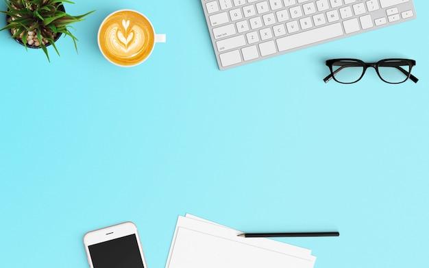 コーヒーカップ、スマートフォン、ツリー、白紙、キーボード、青い色のスマートフォンとモダンなワークスペース