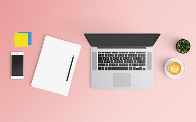 Современное рабочее пространство с кофейной чашкой, бумагой, смартфоном, ноутбуком и ноутбуком розового цвета