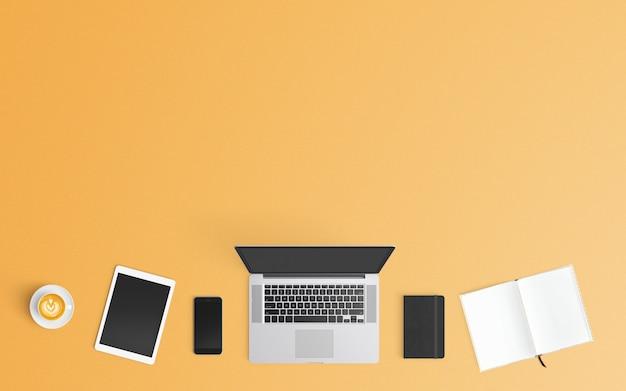 現代のワークスペース。上面図。フラットレイスタイル。