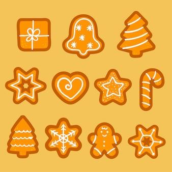 クリスマスジンジャーブレッドクッキーベクトル。