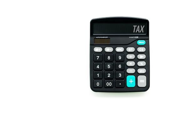 税の言葉遣いをした白い背景の電卓