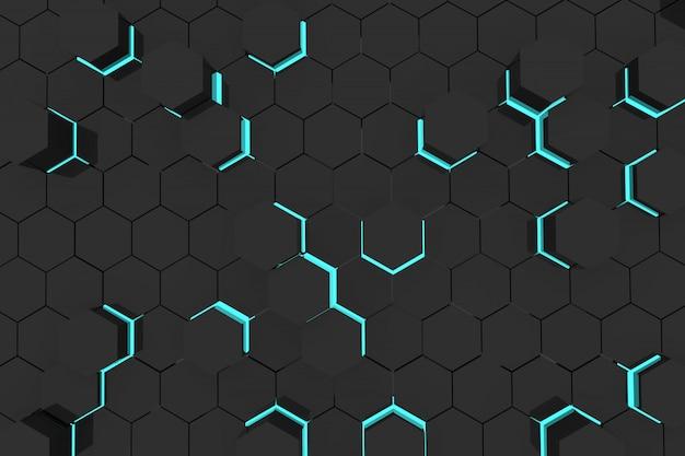 幾何学的な六角形と抽象的な背景