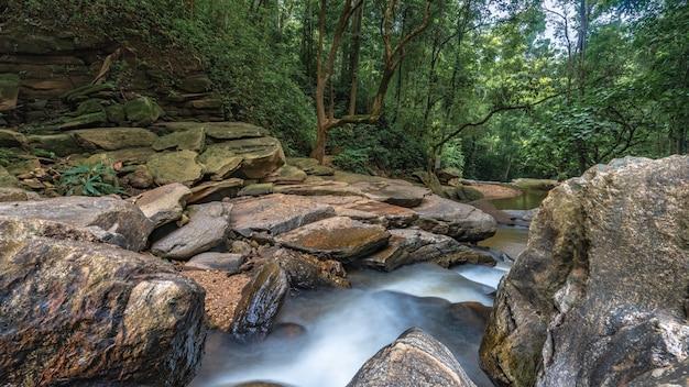 新鮮な崖岩の滝