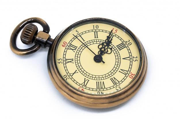 白い背景で隔離のヴィンテージ時計