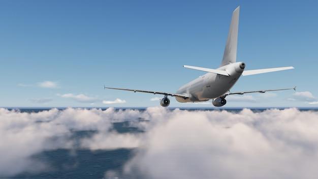 雲の青い空と航空機