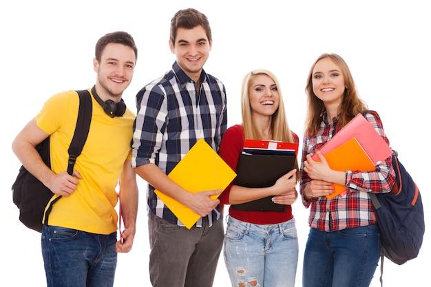 陽気な学生のグループ