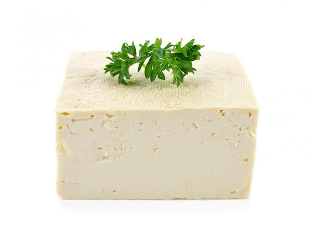 豆腐、白で隔離