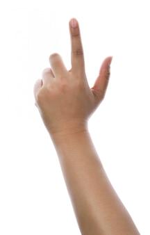 女性の手が触れたり、何かをクリックします