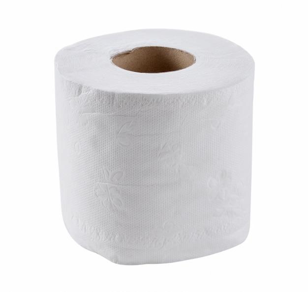 トイレットペーパー、白で隔離