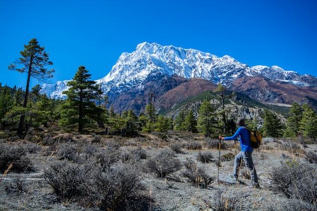 雪の山々の景色を見て、旅行写真に立っている男
