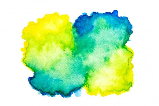 黄色、緑、青の水彩画の混合