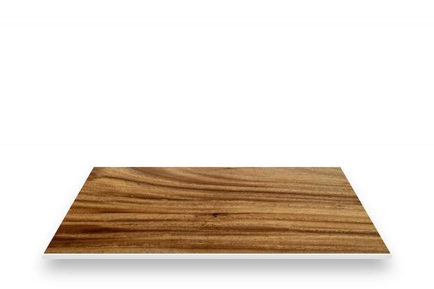 白い背景で隔離の木製テーブル視点