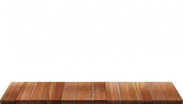 白で隔離される木製のテーブル
