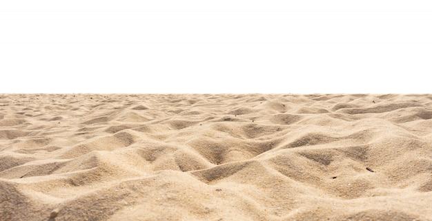 Песчаный пляж, текстура песка, ди-разрез, изолированные на белом