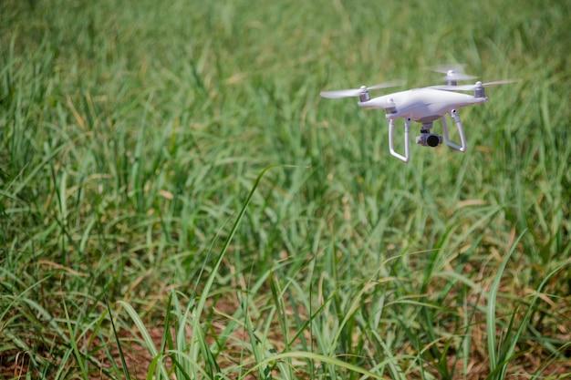 フィールドでドローン飛行。農場における技術の概念。