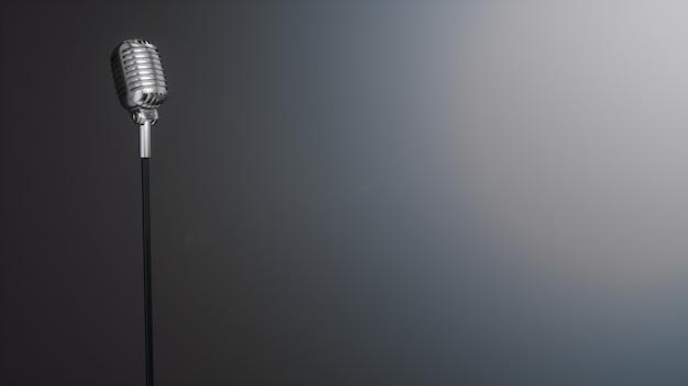 Ретро серебряный микрофон на сером