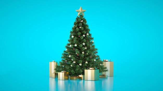 ゴールデンギフトボックスと素晴らしいクリスマスの高級ツリー