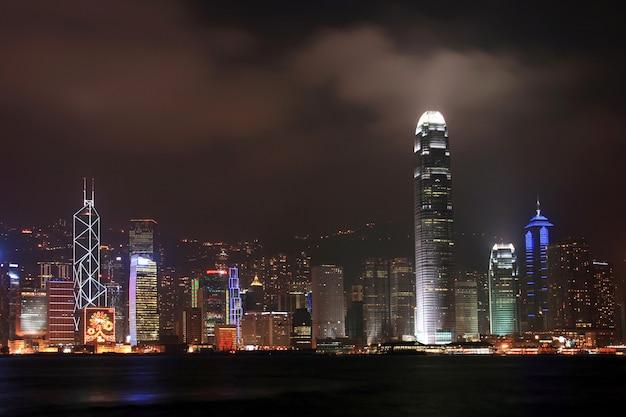 香港のスカイラインと夕暮れ時のビジネス街の高層ビル