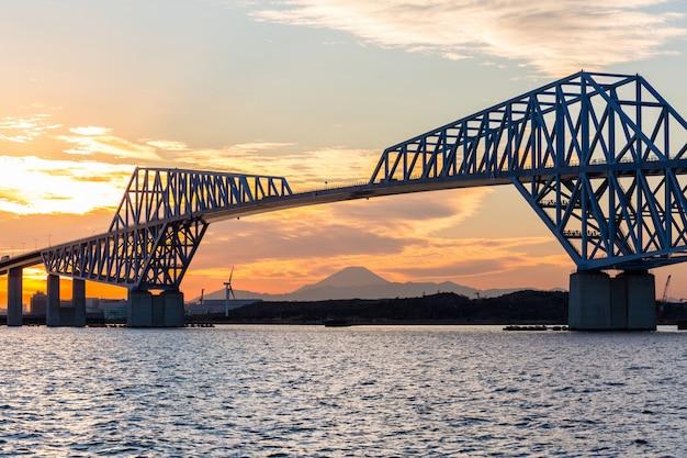 Токийские ворота, мост, закат