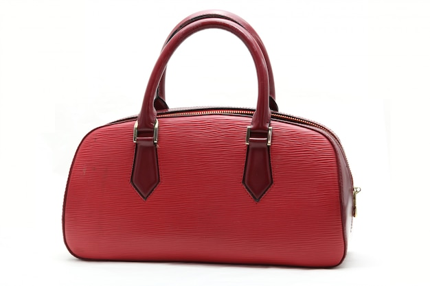 レッドフェイクレザーの女性用バッグ