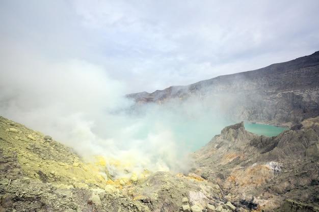 ハワイジェン火山の硫黄鉱山