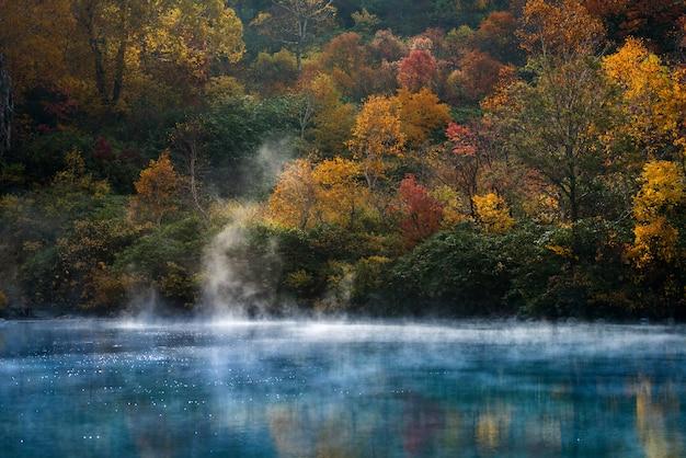秋の温泉湖青森県