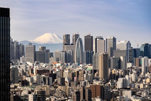 東京のスカイラインと日本の富士山。