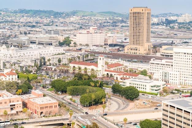 空中ロサンゼルスのダウンタウン