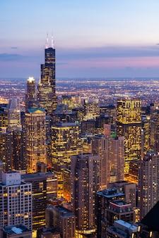 シカゴのスカイライン南の空撮