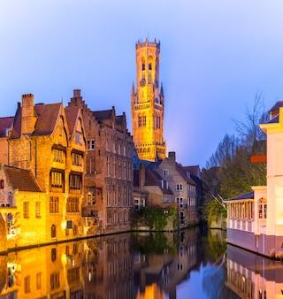 ブルージュ、ベルギーの夕日