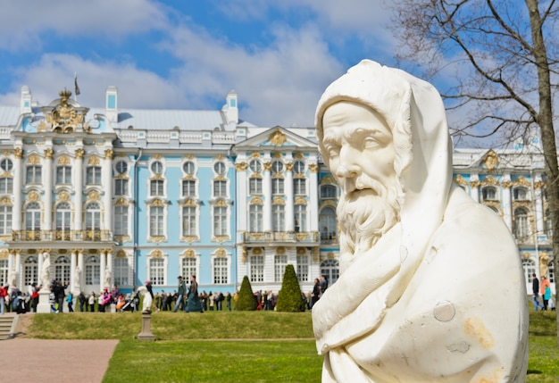 ツァールスコエ・セロー(プーシキン)、サンクトペテルブルク、ロシアでカトリーヌ宮殿の庭の文化