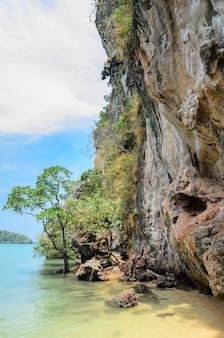 タイ、クラビ県のライレイビーチの石灰岩崖