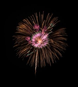 黒の背景にカラフルな花火