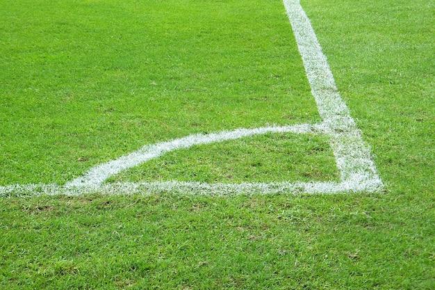 サッカーコーナーフィールド。白い線の緑の草。