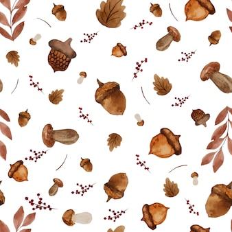 Бесшовные акварельные краски фон из сухих листьев и грибов