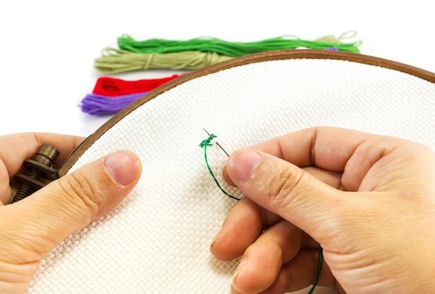 女性刺繍クロスステッチ。