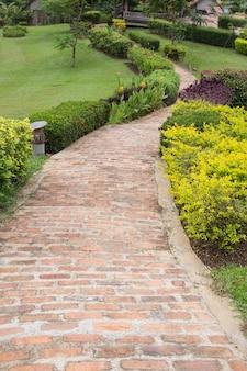 緑豊かな庭園のレンガ路地