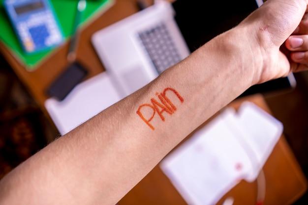 人の手のコンセプト、創造的なアイデアに痛みや痛みのテキストの単語