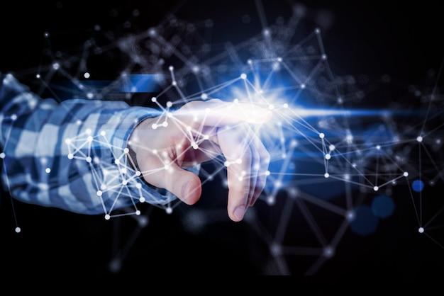 人の手がデジタルインターフェース、世界規模の通信システムを使用